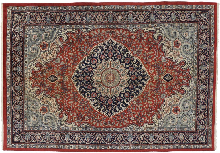 Hand-Knotted Traditional Style Vintage Area Rug with Persian Design For Sale