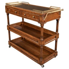 Traditional Style Walnut Rolling Bar Cart