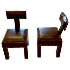 Brown Leather T Shaped Back Pair of Side Chairs, Morocco, Contemporary