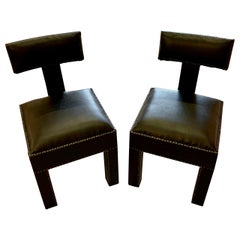 Traditional T-Shaped Back Pair Side Chairs, Morocco, Contemporary