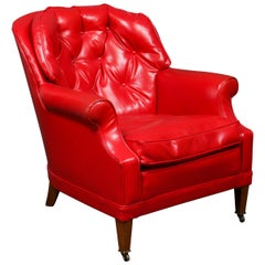 Traditional Tufted Red Vinyl Club Chair