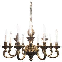 Traditional Twelve-Light Brass Chandelier
