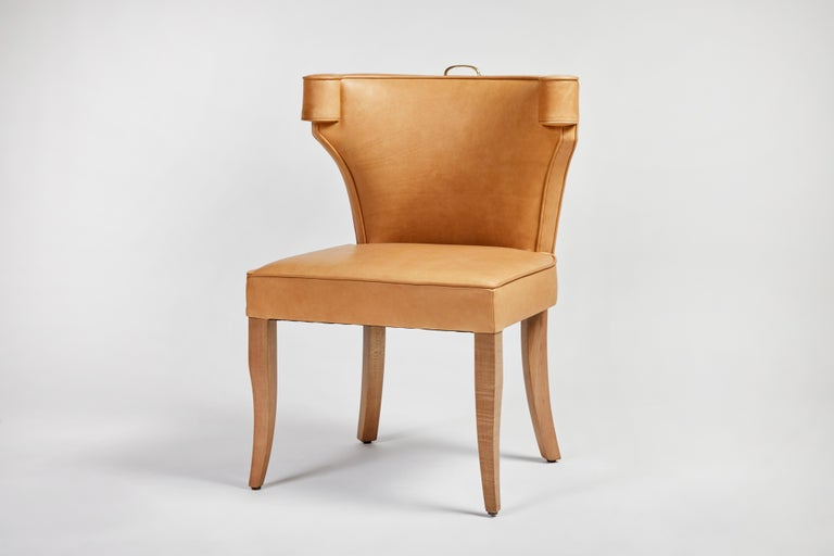 Traditional Upholstered Dining Chair in Orange/ Brass by Martin and Brockett For Sale 4