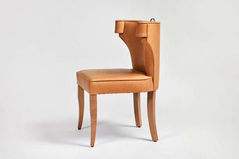 Traditional Upholstered Dining Chair in Orange/ Brass by Martin and Brockett For Sale 5