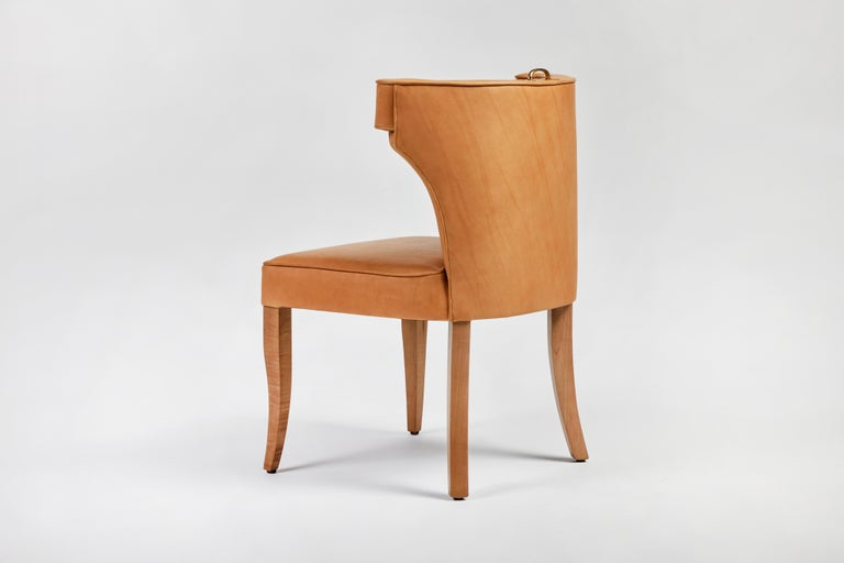 Traditional Upholstered Dining Chair in Orange/ Brass by Martin and Brockett For Sale 6