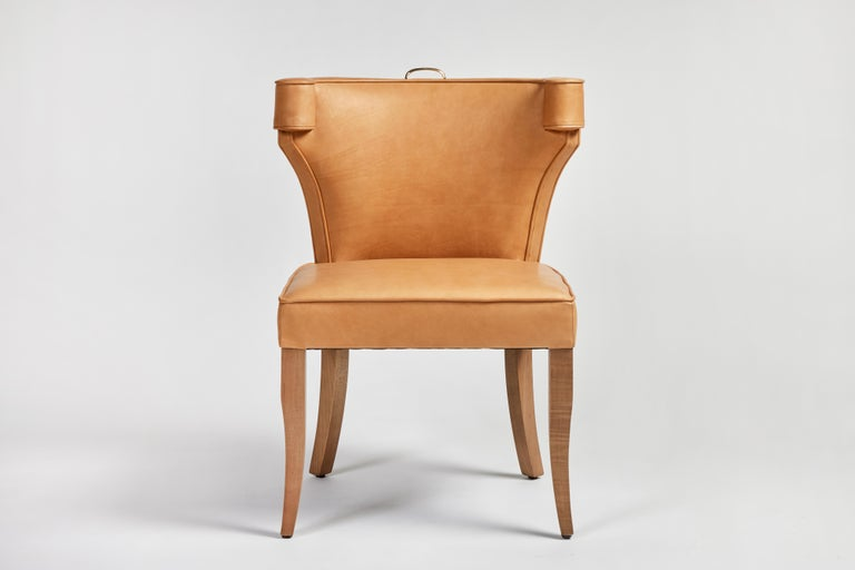 Traditional Upholstered Dining Chair in Orange/ Brass by Martin and Brockett For Sale 7