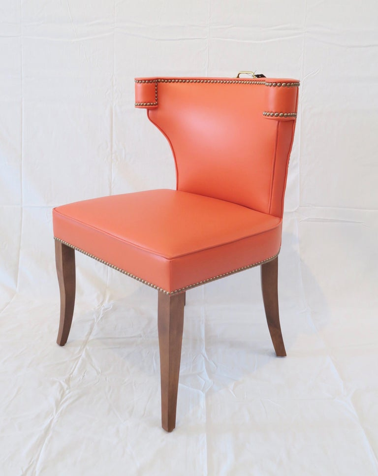 American Traditional Upholstered Dining Chair in Orange/ Brass by Martin and Brockett For Sale