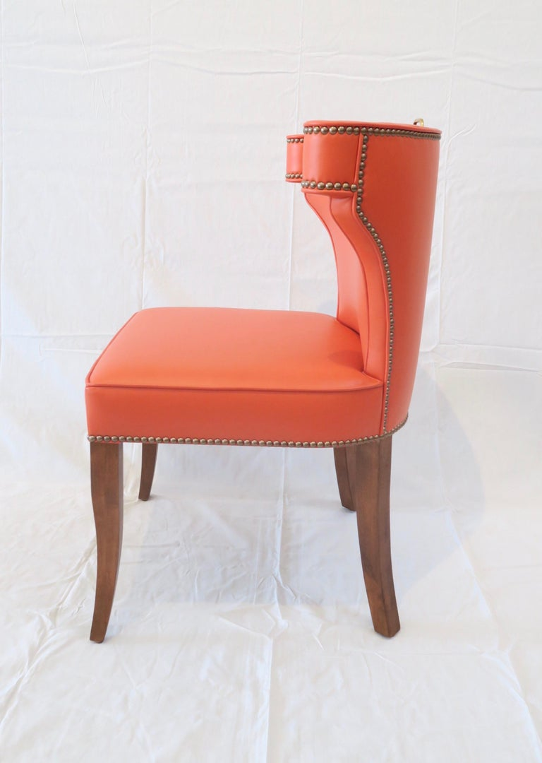Traditional Upholstered Dining Chair in Orange/ Brass by Martin and Brockett In New Condition For Sale In Los Angeles, CA