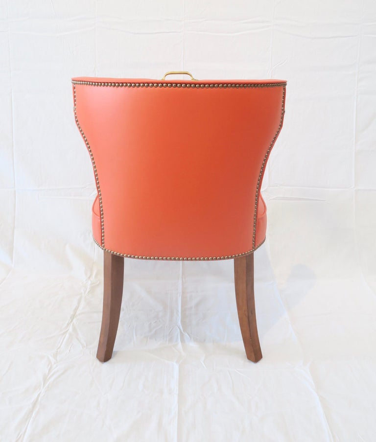 Contemporary Traditional Upholstered Dining Chair in Orange/ Brass by Martin and Brockett For Sale