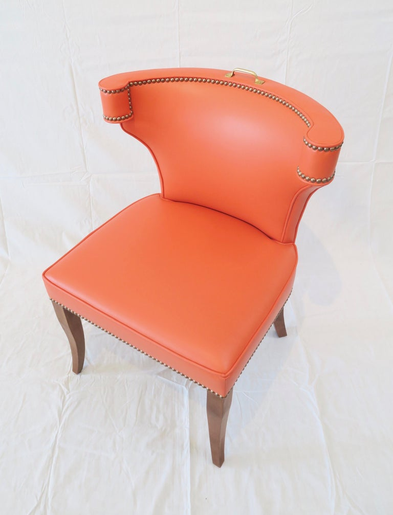 Upholstery Traditional Upholstered Dining Chair in Orange/ Brass by Martin and Brockett For Sale