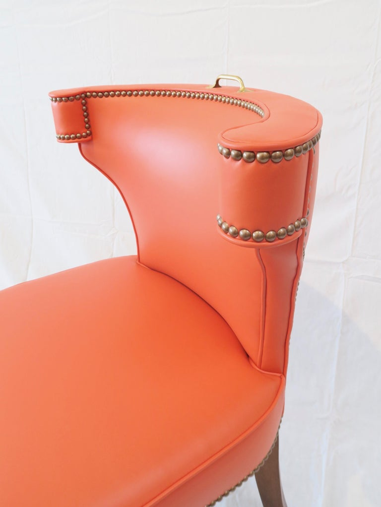Traditional Upholstered Dining Chair in Orange/ Brass by Martin and Brockett For Sale 1