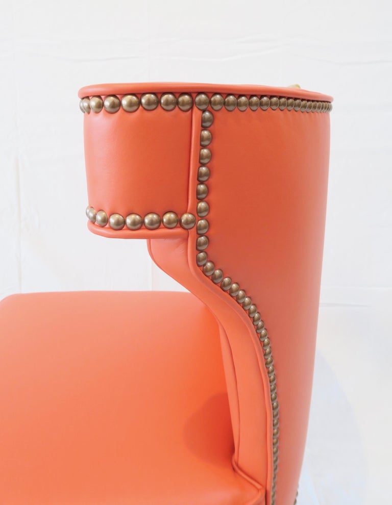 Traditional Upholstered Dining Chair in Orange/ Brass by Martin and Brockett For Sale 2