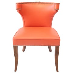 Traditional Upholstered Dining Chair in Orange/ Brass by Martin and Brockett