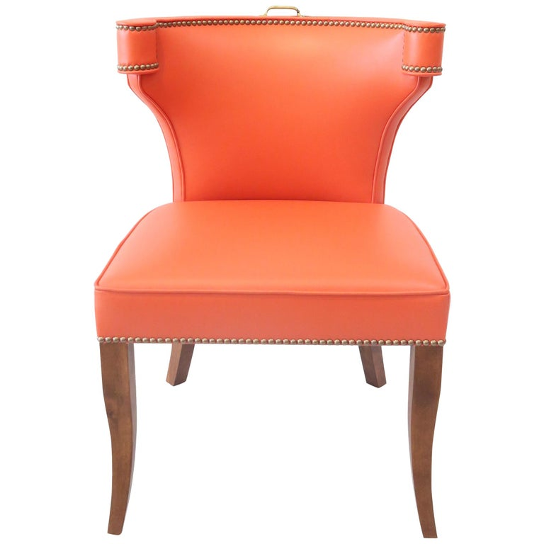 Traditional Upholstered Dining Chair in Orange/ Brass by Martin and Brockett For Sale
