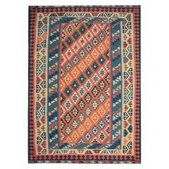 Traditional Vintage Multicolored Afghan Kilim Rug, Geometric Living Room Rug