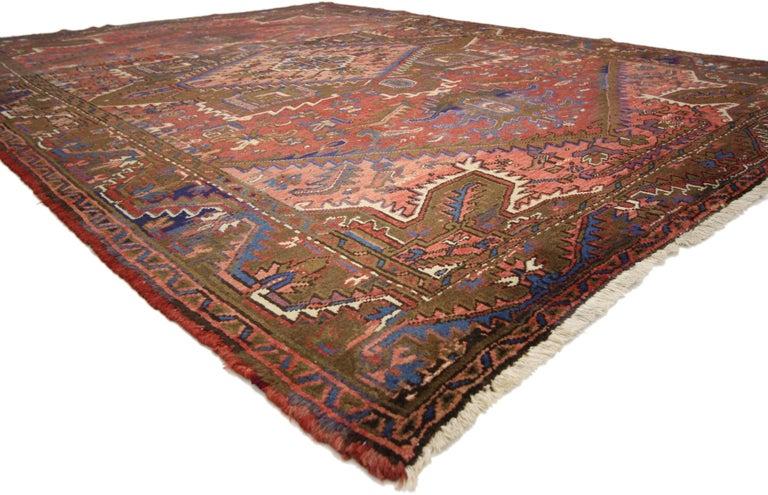 Heriz Serapi Traditional Vintage Persian Heriz Rug with Modern Rustic Style For Sale