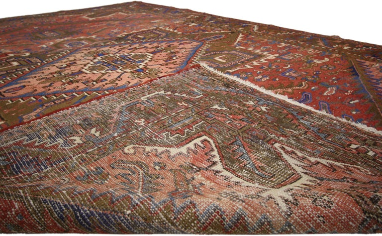 Hand-Knotted Traditional Vintage Persian Heriz Rug with Modern Rustic Style For Sale