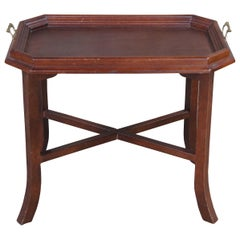 Traditional Vintage Pine Folding Butlers Tray Side Accent Campaign Table