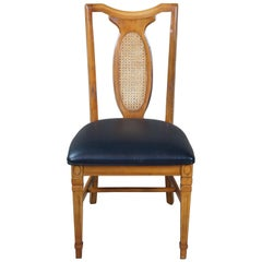 Traditional Walnut Cane Back and Black Vinyl Side Chair Desk Office Dining