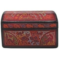 Traditional Wooden Hand-Painted Lacquer Box from Olinalá, Mexico