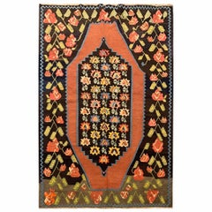 Traditional Wool Antique Caucasus Karabagh Kilim Rug