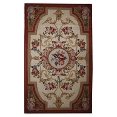 Traditional Wool Needlepoint Tapestry Rug, Floral Carpet Area Rug