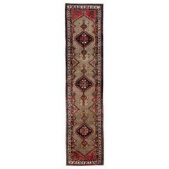 Traditional Wool Runner Rug, Long Handwoven Oriental Cream Beige Rug