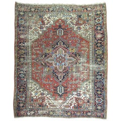 Traditional Worn Antique Persian Heriz Carpet