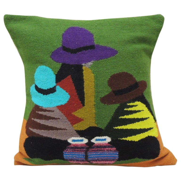Traditional woven Ecuadorian decorative pillow, 20th century
