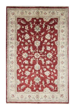 Traditional Ziegler Carpet Rug Handwoven Floral Wool Red Area Rug