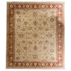 Traditional Ziegler Style Design Carpet, Red and Cream Wool Large Area Rug