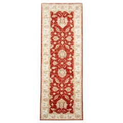 Traditional Zielger Design Runner Rug, Red and Cream Wool