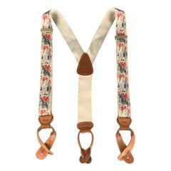 TRAFALGAR Beige Leather Trim Equestrian Ribbon Suspenders