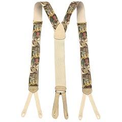 TRAFALGAR Cigarros Superiores Print Beige Silk Suspenders