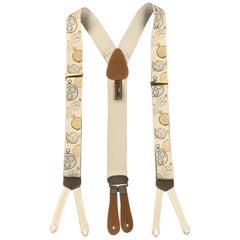 TRAFALGAR Clock Print Beige Silk Suspenders