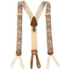 TRAFALGAR Clown Print Gray Silk Suspenders