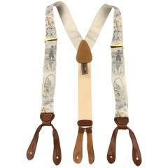 TRAFALGAR Fishing Print Gray Silk Suspenders