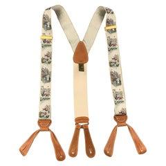TRAFALGAR Footbal Print Beige Silk Suspenders