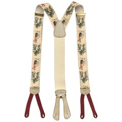 TRAFALGAR GOLF Print Beige Silk Suspenders