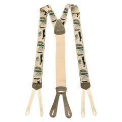 TRAFALGAR Playing Pool Print Beige Silk Suspenders