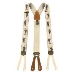 TRAFALGAR Smoking Print Beige Silk Suspenders