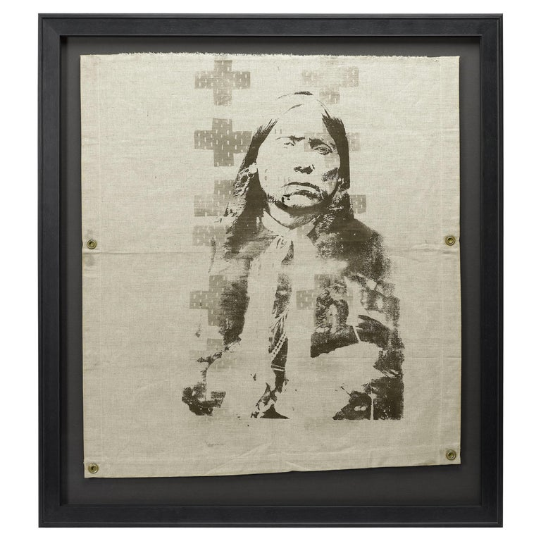 """""""Trail of Tears"""" Native American Indian Print on Vintage Canvas For Sale"""