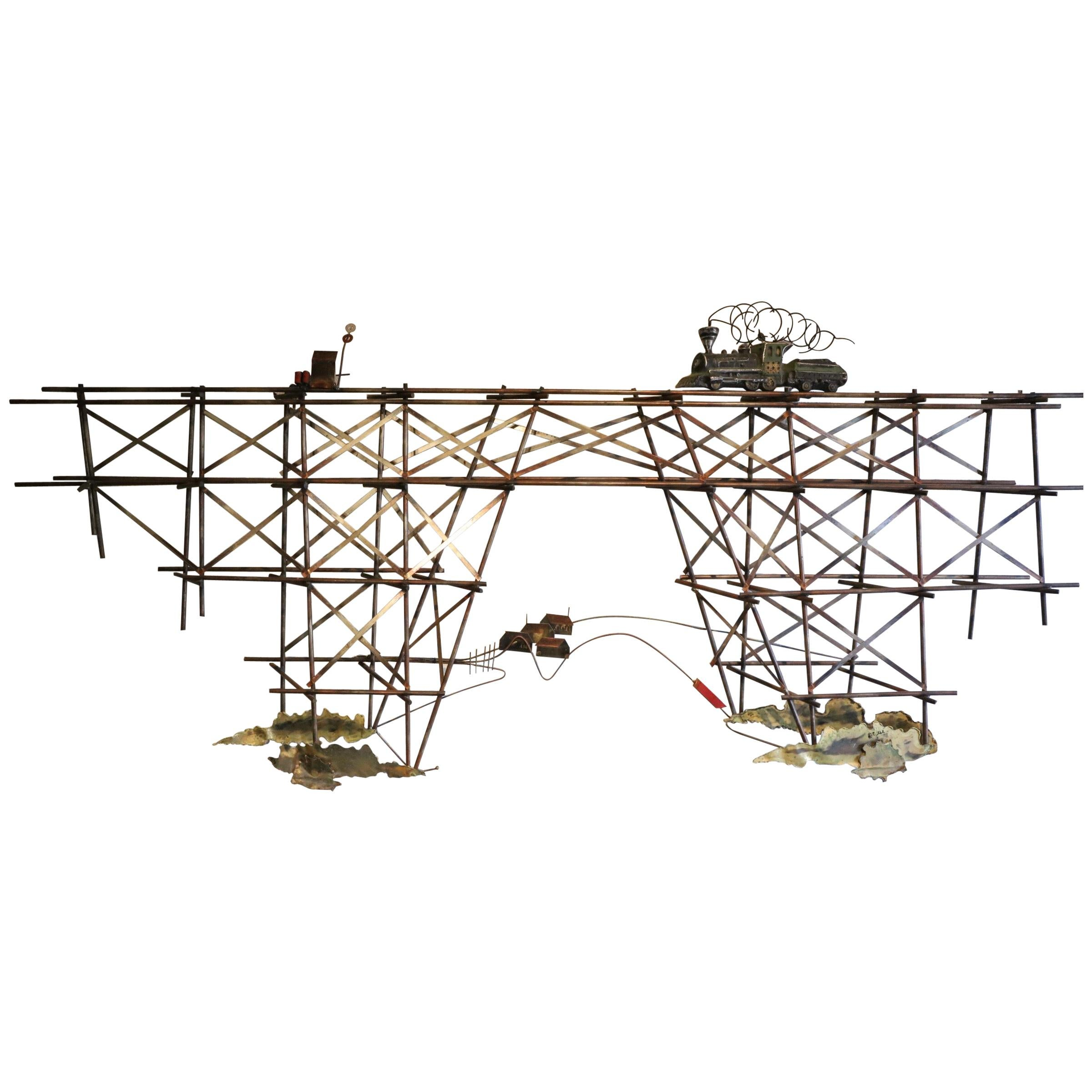 Train Bridge Wall Sculpture by Curtis Jere