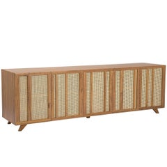 Trama Brazilian Contemporary Wood and Straw Sideboard by Lattoog