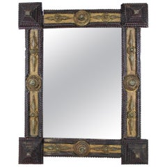Tramp Art Mirror Basswood, Austria, circa 1860