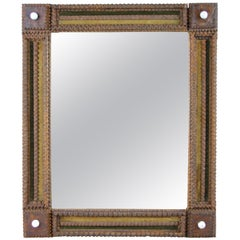 Tramp Art Mirror Basswood with Original Velvet Applications, Austria, circa 1870