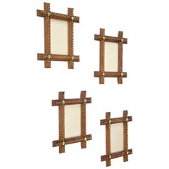 Tramp Art Photo Frames Set of Four Hand Carved, Austria, circa 1890