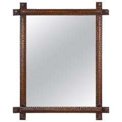 Tramp Art Rustic Wall Mirror Chip Carved, Austria, circa 1880