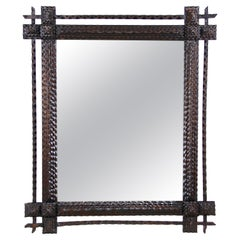 Tramp Art Rustic Wall Mirror Hand Carved, Austria, circa 1870
