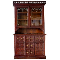 Tramp Art Step Back Cabinet